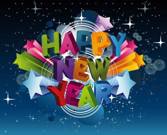 happy new year 3d vector graphic